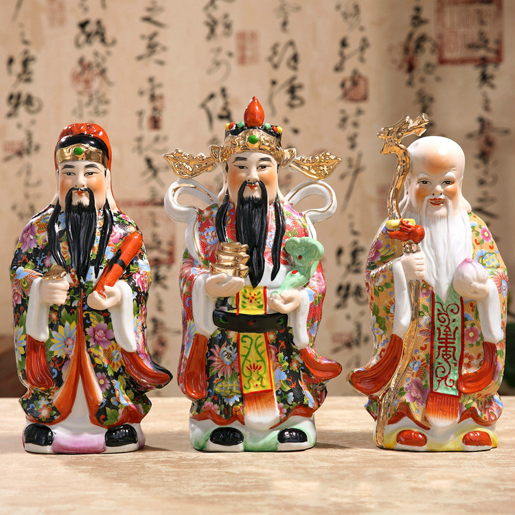 The Three Gods of Fortune Statue Chinese Color Handmade Decals Samsung Ceramic Ornaments   Painted Sculpture Three-piece Suit