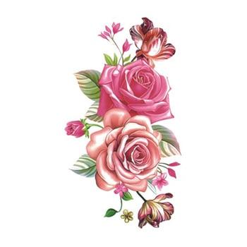 Wyuen Flower Rose Waterproof Temporary Tattoo Sticker for Adults Kids Body Art Women New Design Water Transfer Fake Tatoo P-108 5