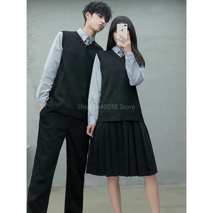 Japanese Sailor JK Suit Junior High School Uniform Korean British Women Student Sweater Cardigan Shirt Pleated Skirt Stage Wear