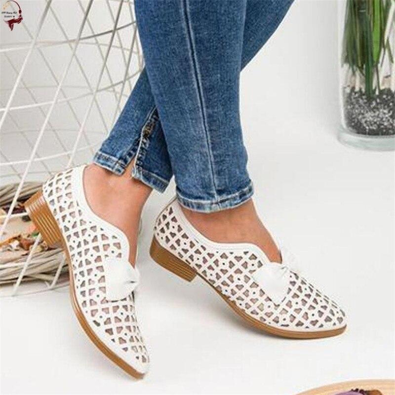 2020 г. Летняя женская пляжная обувь с вырезами женская обувь с острым носком на низком каблуке без шнуровки женские повседневные сандалии с бантом большой размер 43 Туфли      АлиЭкспресс