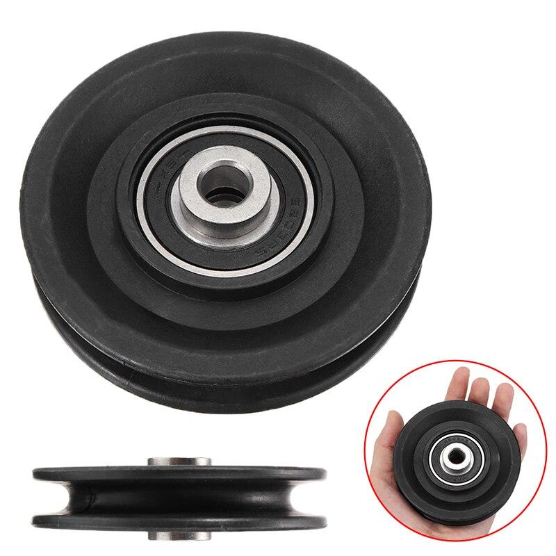 Poulie de c/âble en nylon pour roue de roulement de roue de poulie en forme de V Noir