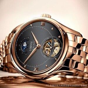 Image 2 - LOBINNI reloj para hombre con movimiento mecánico automático, cronógrafos de marca de lujo, fase lunar, zafiro, L12025M 4