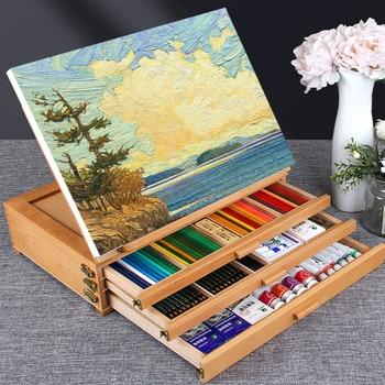 Caballete De madera De artista para pintar con Mesa con cajones, Mesa De escritorio portátil, Maleta De Dibujo, accesorios De Dibujo, suministros De arte