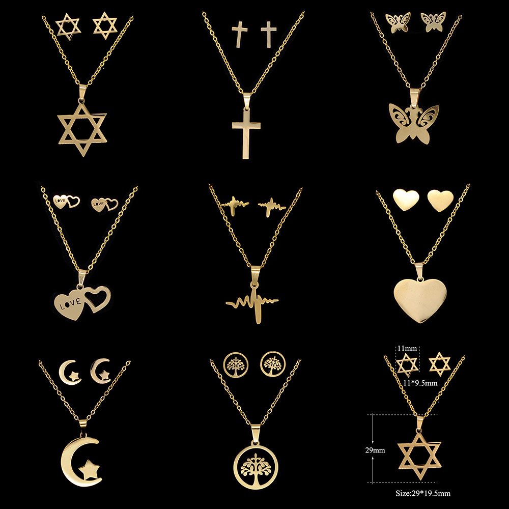 Gold Filled Necklace Set Stainless Steel Mirror Polish High Quality Cross, Star of David Heart Lightning Butterfly