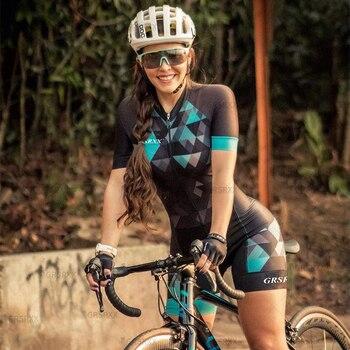 Grsrxx triathlon skinsuits feminino conjunto de ciclismo mtb equipe macacão kits verão feminino conjunto ciclismo jerseys bicicleta terno 1