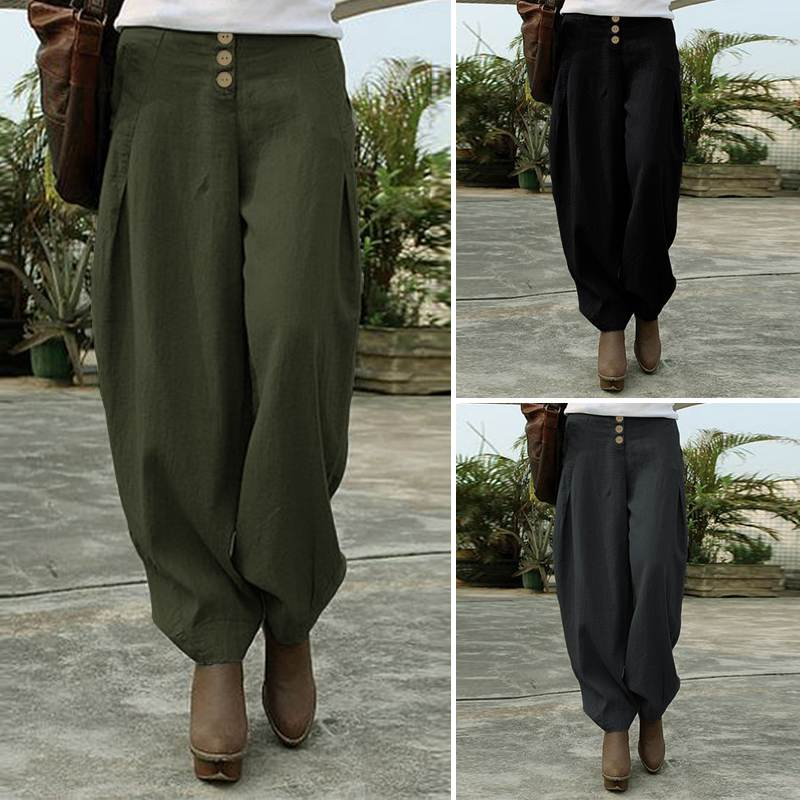 ZANZEA Women's Pants 2020 Fashion Ladies Wide Leg Long Trousers Loose Pockets Elastic Waist Bottoms Streetwear Pantalones Femme