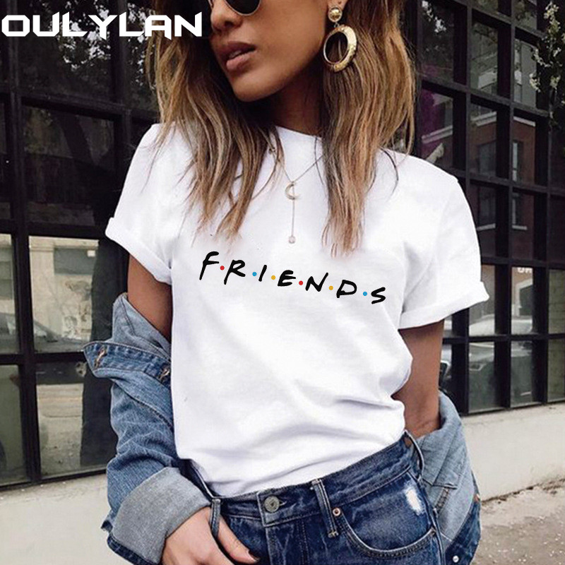 Oulylan Summer T Shirt Women Short Sleeve Friends Heart Print Tops Casual Ladies T Shirts Female Clothing Plus Size XXL