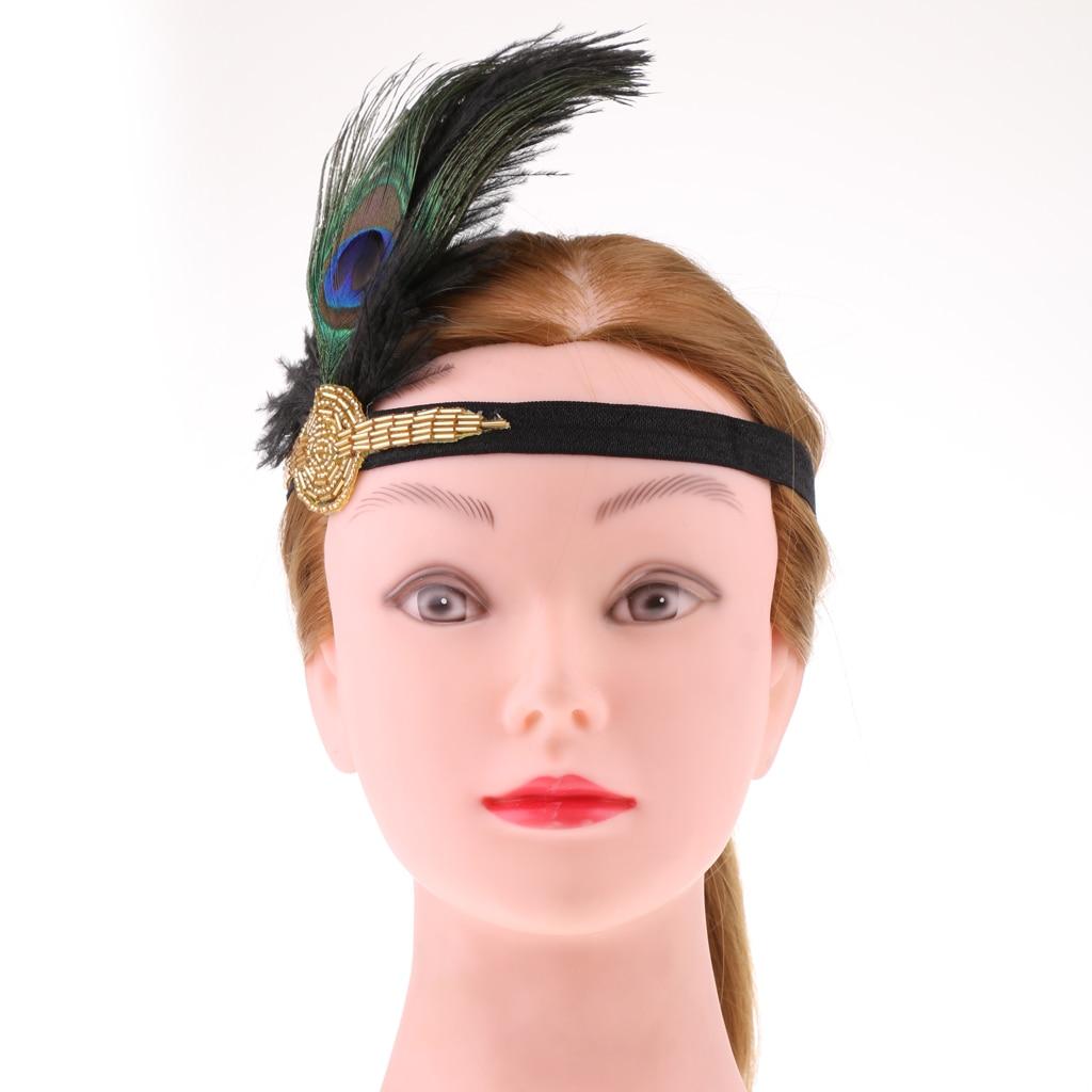 Blesiya 1920s Great Peacock Feather Hair Band Wedding Party Headdress Feather Headpiece Vintage Woman Flapper Headband