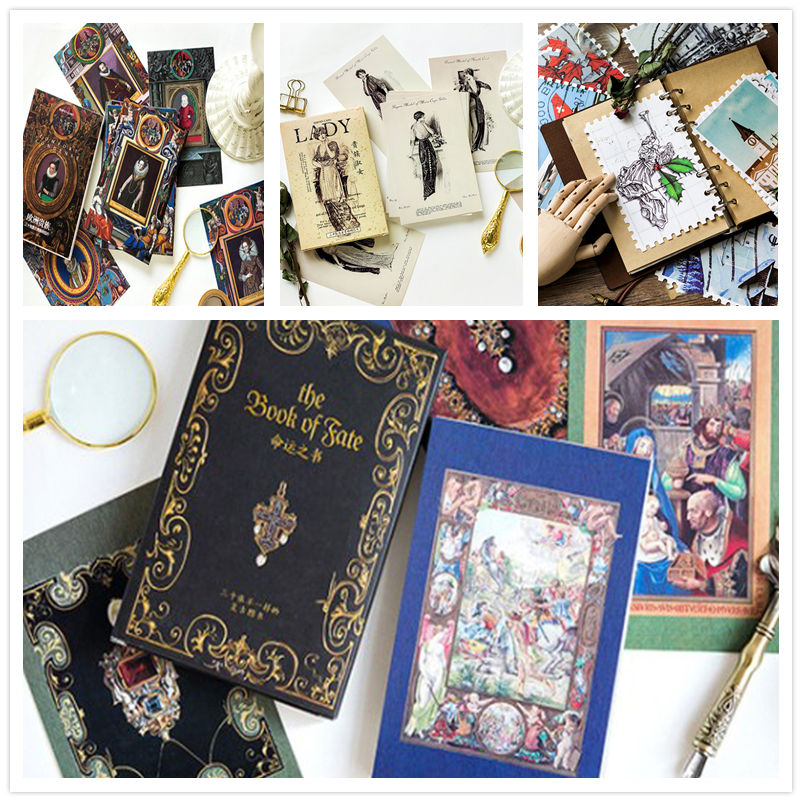 4packs/lot Vintage Book Of Destiny European Nobility Aristocratic Lady Card  Greeting Postcard Gift Card Set Message Card