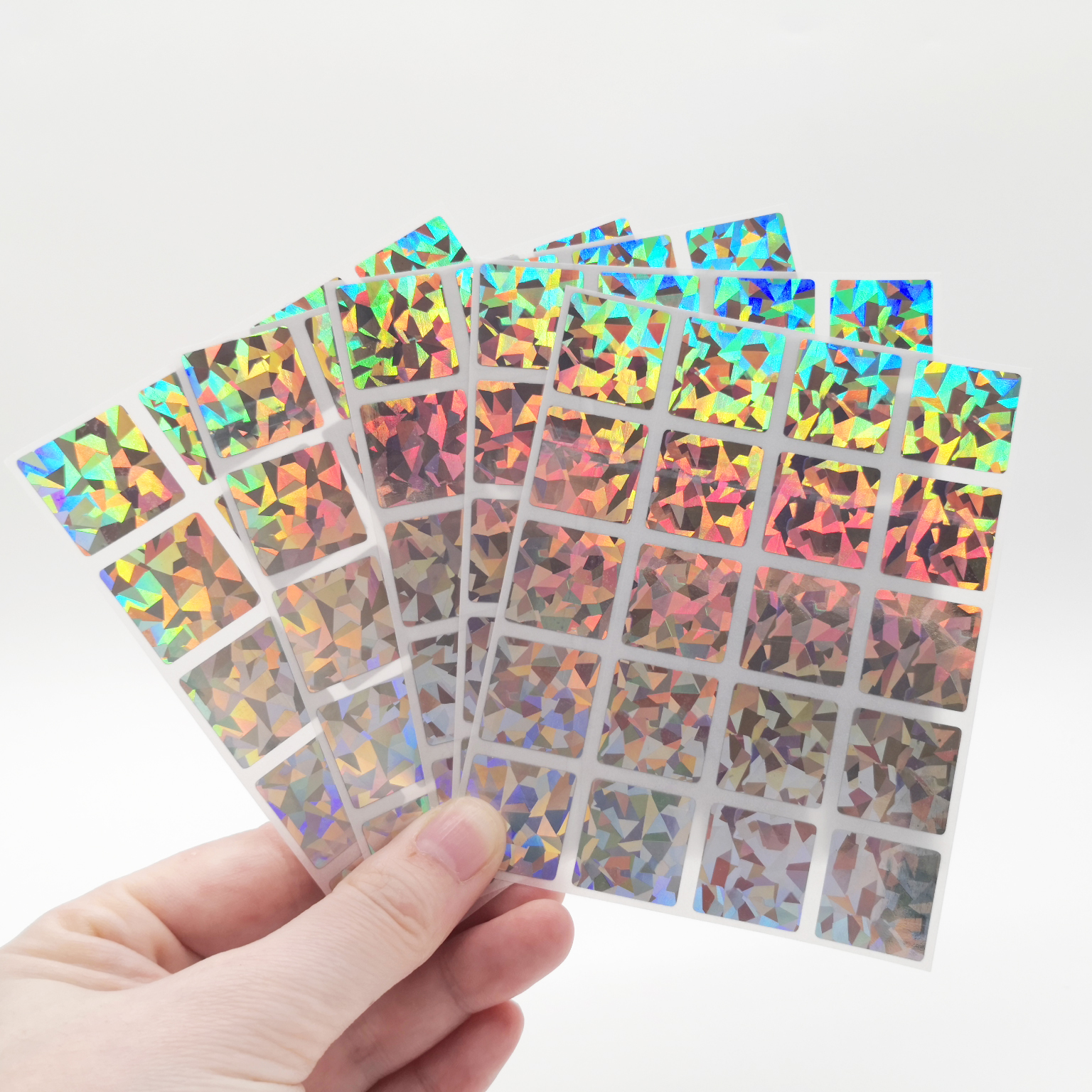 300Pcs Scratch Off Stickers 20*20mm Square Diamond Laser Color Metallic Hologram Game Scratch Sticker   Wedding Card