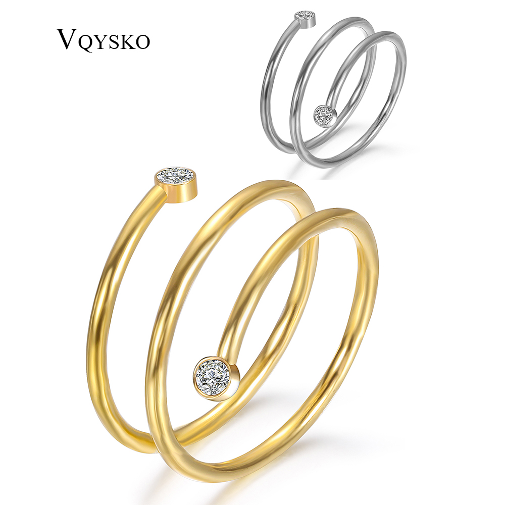 Fashion Women Winding Rings With Crystals Wholesale Stainless Steel Wide Band Ring Jewelry Accessories Drop Shipping