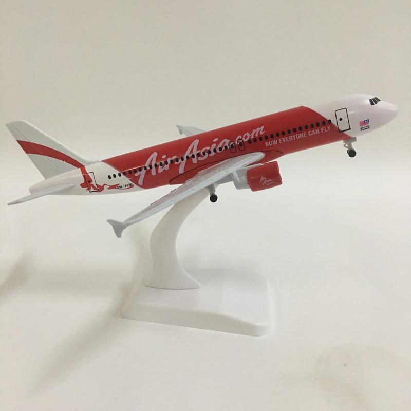 JASON TUTU 20cm Plane Model Airplane Model Air Asia Airbus A320 Aircraft Model 1:300 Diecast Metal Airplanes Plane Toy Gift
