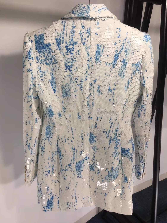 8.15 yüksek kaliteli yeni moda pist 2019 tasarımcı Blazer kadın kruvaze şal yaka pırıltılı payetli uzun Blazer