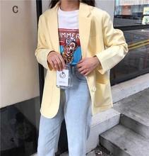 Yellow Color Suit Blazer Jacket Women Fashion Long Sleeve Coat Elegant Suits Female Ladies New England loose long coat SS thin