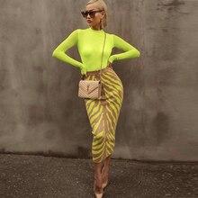 Ocstrade新到着 2020 ファッションロング包帯スカート女性ライムゼブラ印刷ボディコン包帯スカートミディクラブパーティースカート