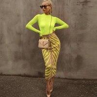 Ocstrade New Arrival 2019 Fashion Long Bandage Skirt Women Lime Zebra Print Bodycon Bandage Skirt Midi Club Party Skirt