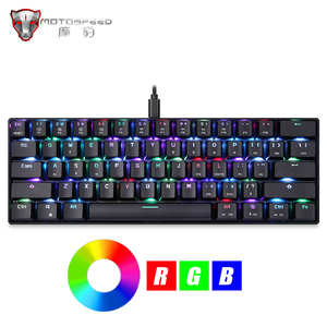 Motospeed CK61 Gaming Mechanical Keyboard 61 Keys USB Wired RGB LED Backlight Portable Blue Switches keyboard for Computer Gamer