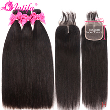 Malaysia Straight Bundles With 5 #215 5 Closure Human Hair Bundles With Closure Remy Hair 3 Bundles With 5 #215 5 Closure Hair Extension cheap Aatifa =10 Darker Color Only Straightened 3 pcs Weft 1 pc Closure Malaysia Hair 100 Human Hair Bundles With Closure Human hair weave