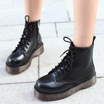 Fashion Women Jason Martins Boots Autumn Winter Motorcycle Ankle Platform Boots Ladies Boots Black PU Leather Shoes 1