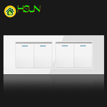 US Tempered Glass White 118 Type Switch Socket 1/2/3/4/5/6/7/8 Gang 2 Way Switch Real Glass Panel LED Guide Light Mounting Box