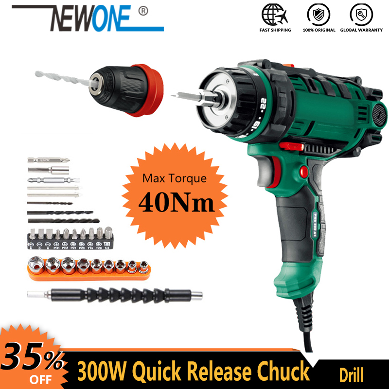 300W Power Tool Corded Electric Power Drill Screwdriver Energy Drill with 10mm Quick-Release Chuck Max Torque 40Nm 5m Cord Acc