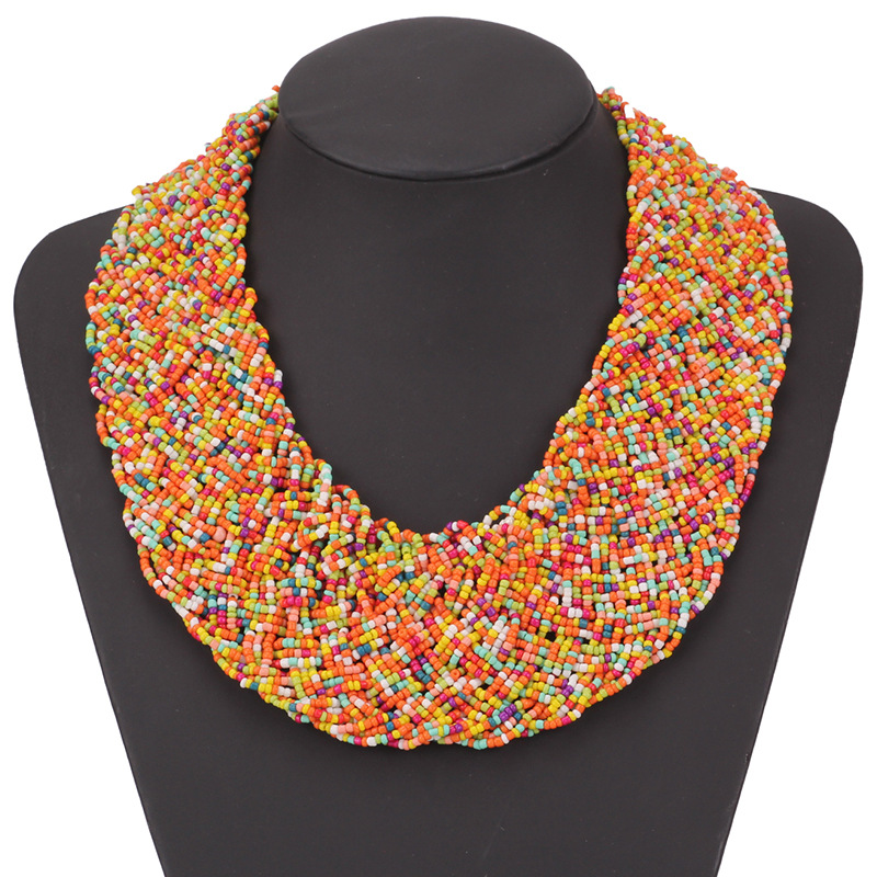 Collier de perles faites à la main bohême Boho Collier Ethnique large ras du cou bohème colliers femmes accessoires Collier Ethnique bohême