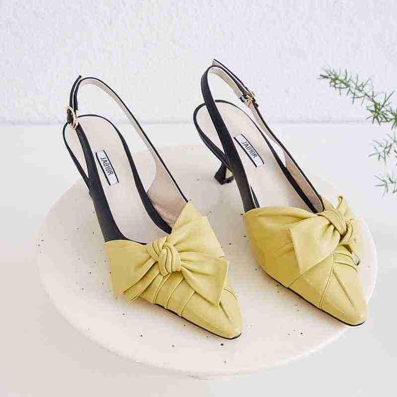 Krazing tencere tatlı karışık renkler papyon hakiki deri ayakkabı sivri burun stiletto yüksek topuklu moda toka slingback L51