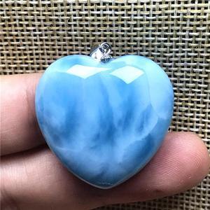 Image 5 - Top Natural Blue Larimar Hart Hanger Sieraden Voor Vrouw Man 29X10Mm Kralen Zilveren Dominica Crystal Water Patroon gemstone Aaaaa