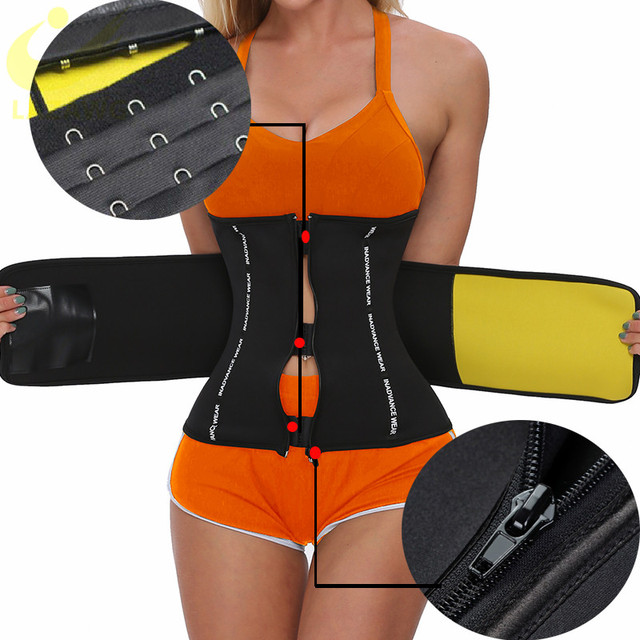 LAZAWG Waist Trainer Thermo Sweat Belt Weight Loss Girdle Corset Women Tummy Body Shaper Fat Burning 3 Ways Firm Control Waist 1