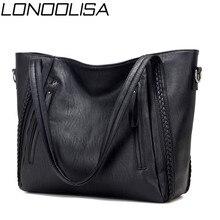 الفاخرة المرأة حقائب يد جلدية لينة مصمم العلامة التجارية سعة كبيرة المنسوجة حقائب كتف السيدات حقائب اليد عادية الأسود حقائب السفر