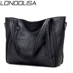 Image 1 - Luxury Womens Soft Leather Handbags Designer Brand Large Capacity Woven Shoulder Bags Ladies Casual Totes Black Travel Bags
