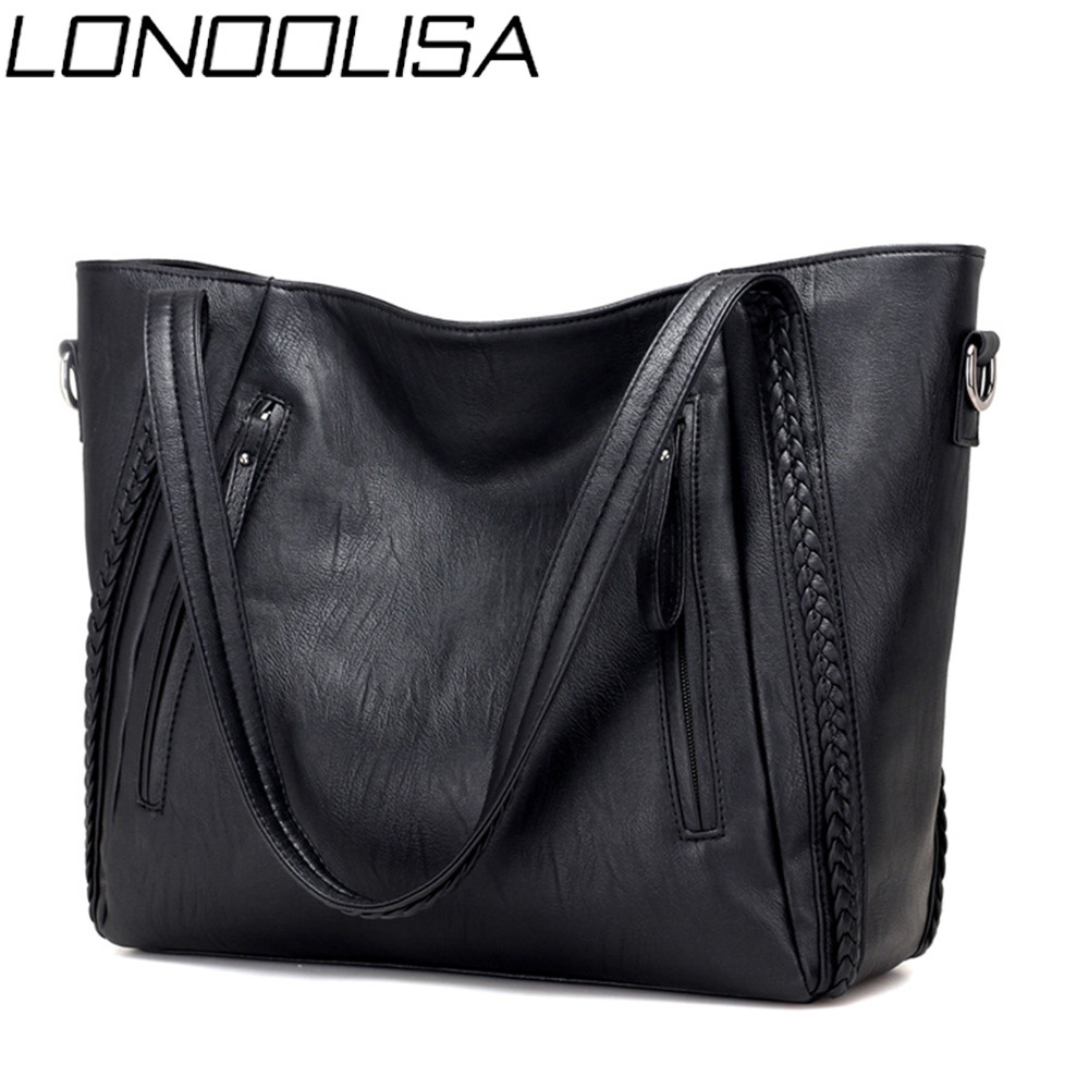 New Luxury Women's Soft Leather Handbags Designer Brand Large Capacity Woven Shoulder Bags Ladies Casual Totes Black Travel Bags