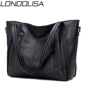 Image 1 - Sacs à main en cuir souple de luxe pour femmes sacs à bandoulière tissés de grande capacité de marque de concepteur dames fourre tout décontractés sacs de voyage noirs
