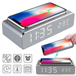 Led despertador elétrico digital termômetro relógio hd espelho relógio com telefone sem fio carregador e data de tempo carregamento sem fio