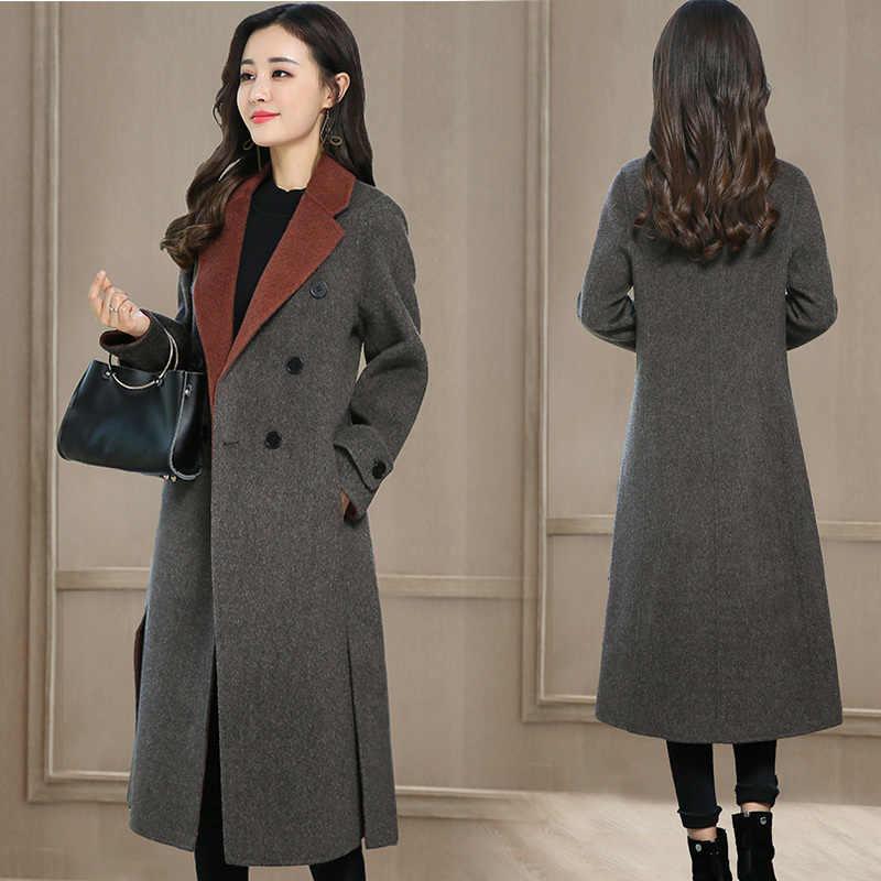 Wol Mantel Wanita Butik Baru Fashion Slim Elegan 2020 Musim Dingin Menebal Jaket Wol Ukuran Bulu Kerah Panjang Musim Gugur Pakaian Luar