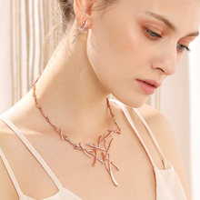 Viennois Necklace Earrings Dubai Jewelry Sets For Wedding Dress, Bridesmaids, Brides, Party or Prom Rose Gold & Gun Color 2019(China)