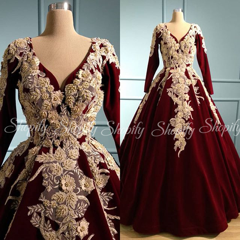 Long Evening Dresses 2020 Puffy Ball Gown V-neck Long Sleeve Formal Ladies Champagne Lace Beaded Burgundy Evening Gowns