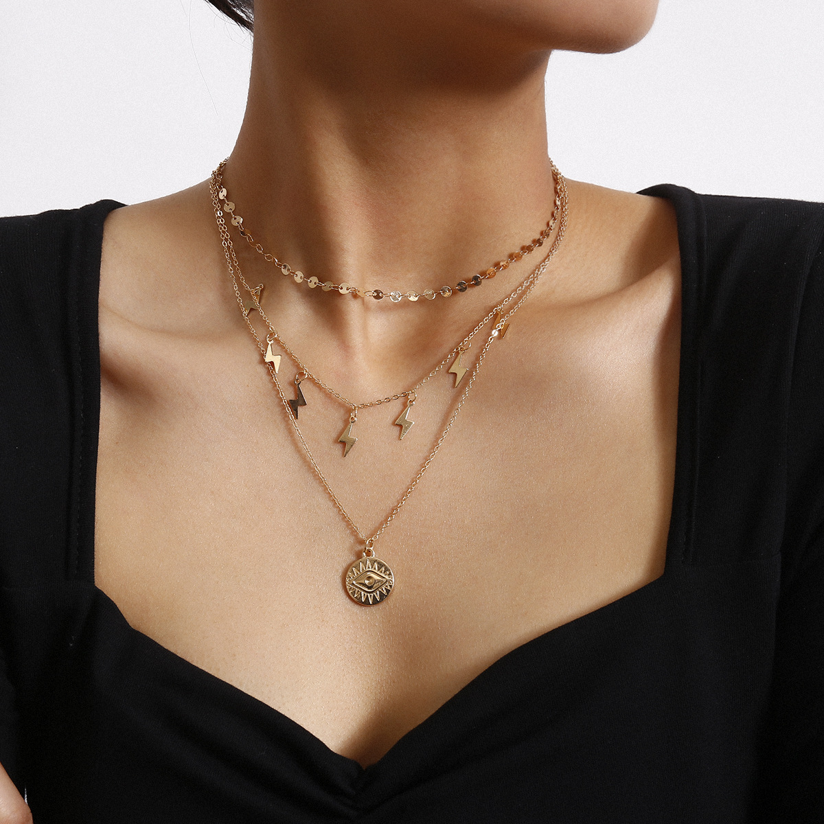 Alloy Sequins Choker Lightning Symbol Tassel Clavicle Chain Gold Color Eye Pendant Necklaces for Women 2020 Fashion Jewelry New