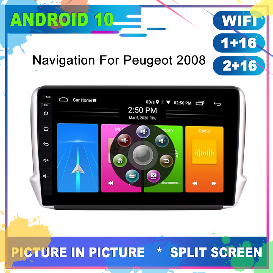 2 Din Car Android 10 GPS For <font><b>Peugeot</b></font> 2008 <font><b>208</b></font> <font><b>Radio</b></font> Navigation Multimedia Cassette Recorder Player Full Touch Carplay Head Unit image