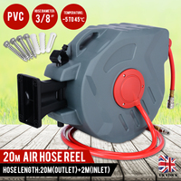 20M/65ft Professional Air Hose Reel Workshop Garage Retractable Air Compressor Line Hose Reel Garden Watering Tools
