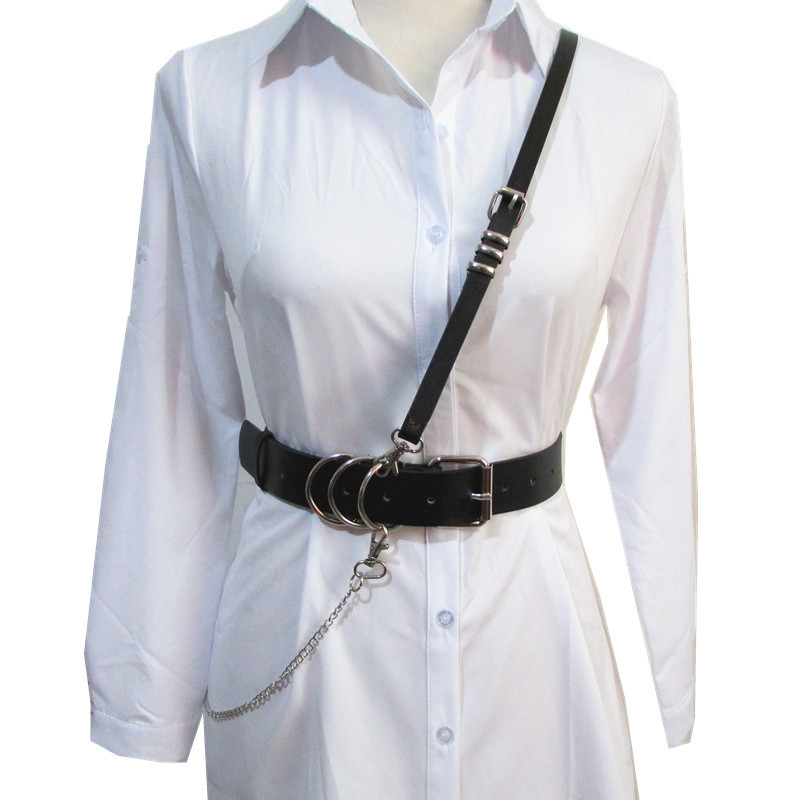 New Vintage Fashion Long Belt Personality Waist Wide Black Genuine Leather Straps shirt Waistband Belt For Women Accessory