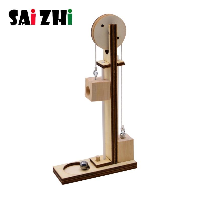Saizhi-elevador eléctrico DIY para niños, Juguetes De ciencia, Kits de experimentos, Educación Creativa, proyecto escolar de innovación