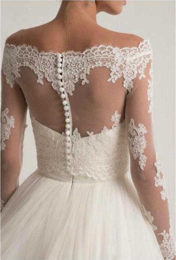 Off Bahu Pernikahan Jaket Renda Appliques Bridal Bolero Wrap Top Lengan Panjang Disesuaikan Pengantin Jaket