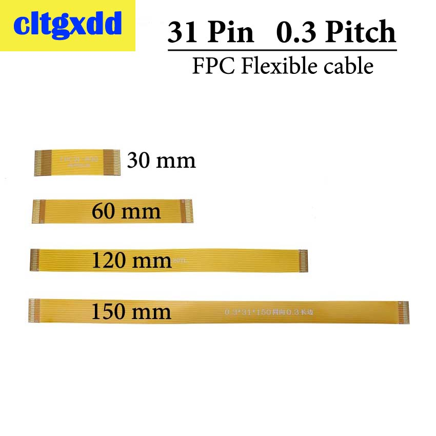 Cltgxdd Gold Plated 0.3 Mm Pitch 31P FPC Cable Spacing 0.3mm 31Pin FPC FFC Connector Flexible Flat Cable Line 30 60 120 150 Mm