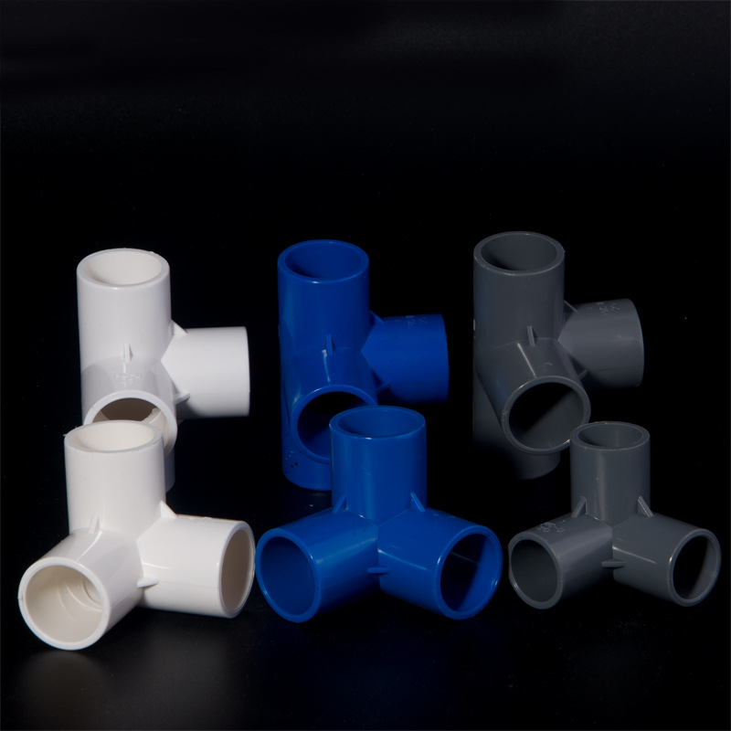 PVC Stereo Right-angle Tee Stereo Stone Stereo Bottom Bracket Six-way Joint Plastic Fittings Shelf Water Supply Pipe Fitting