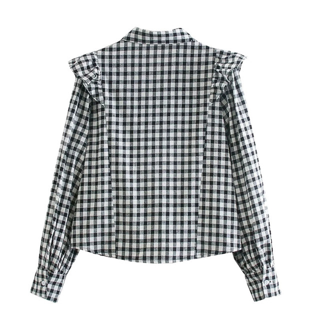 Qeils Women Fashion Ruffled Plaid Blouses Casual Vintage Long Sleeve Turn-Down Collar Button-Up Female Shirts Blusas Chic Tops 2