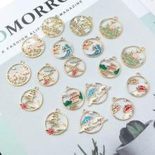 Guirlande de Style chinois en émail, pendentif en alliage de fleur de prunier, accessoires de bijoux, boucles d'oreilles, couvre-chef, bricolage, 22x25mm, 6 pièces