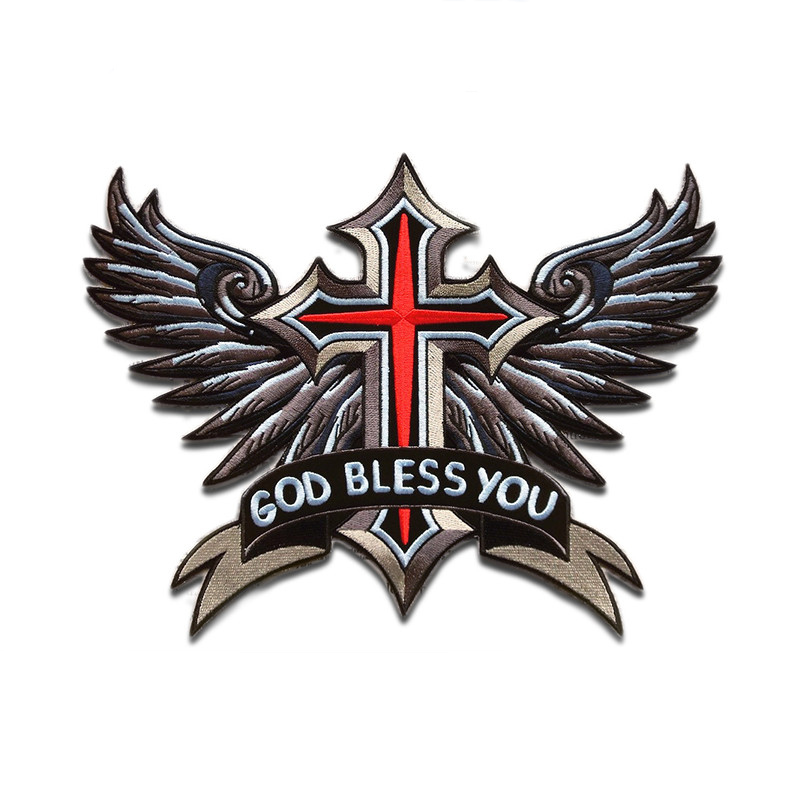 Large God Bless You Cross Flying Wings Patches Badge 3D Embroidery Cloth Stickers Back Sewing Iron On Vest DIY Patch On Clothing