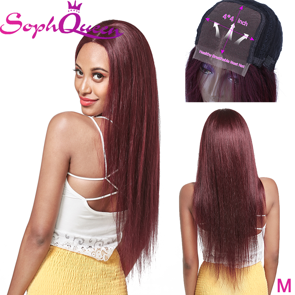 Soph Queen Brazlian Hair 4*4 Lace Closure Wig 99J Medium Ratio Human Hair Wigs Remy Hair For Black Women Pre Plucked Hairline