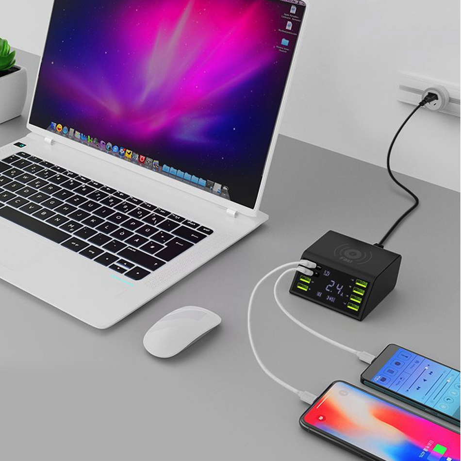 LCD Display QC 3 0 Fast Charger Station 8 Port Charging Dock With 10W Wireless Charger For Mobile Tablet Smart Device in Mobile Phone Chargers from Cellphones Telecommunications